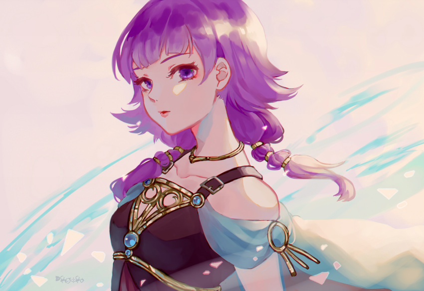 1girl bare_shoulders breasts cape dress fire_emblem fire_emblem:_seima_no_kouseki fire_emblem_heroes highres jewelry looking_to_the_side lute_(fire_emblem) necklace purple_hair rheamii short_hair solo twintails upper_body violet_eyes