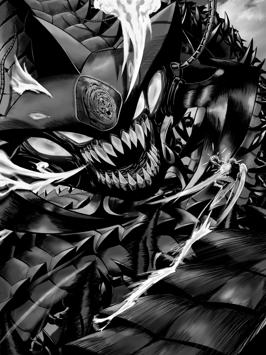 1boy absurdres action commentary_request flying genos giant_monster greyscale highres jetpack monochrome monster mukade_chourou one-punch_man pants shirt xiniu_r&f_(lande_hua_hua)