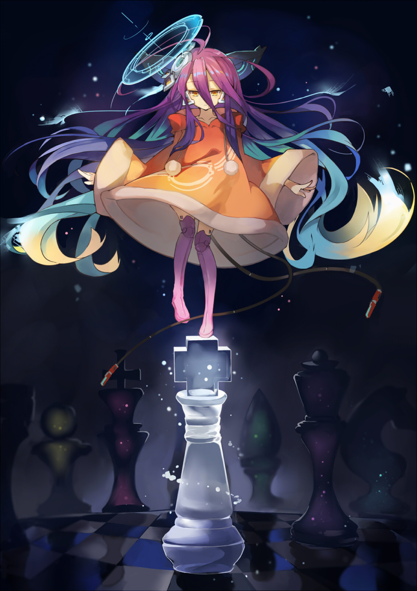 1girl bangs bishop_(chess) blue_hair boots brown_eyes brown_robe chess_piece collarbone commentary_request eyebrows_visible_through_hair gradient_hair hair_between_eyes hair_ornament highres hood hood_down hooded_robe king_(chess) knight_(chess) long_sleeves mitu_yang multicolored_hair no_game_no_life pawn pink_footwear pink_legwear pom_pom_(clothes) purple_hair queen_(chess) red_eyes robe robot_joints rook_(chess) shuvi_(no_game_no_life) solo standing standing_on_one_leg thigh-highs thigh_boots wide_sleeves