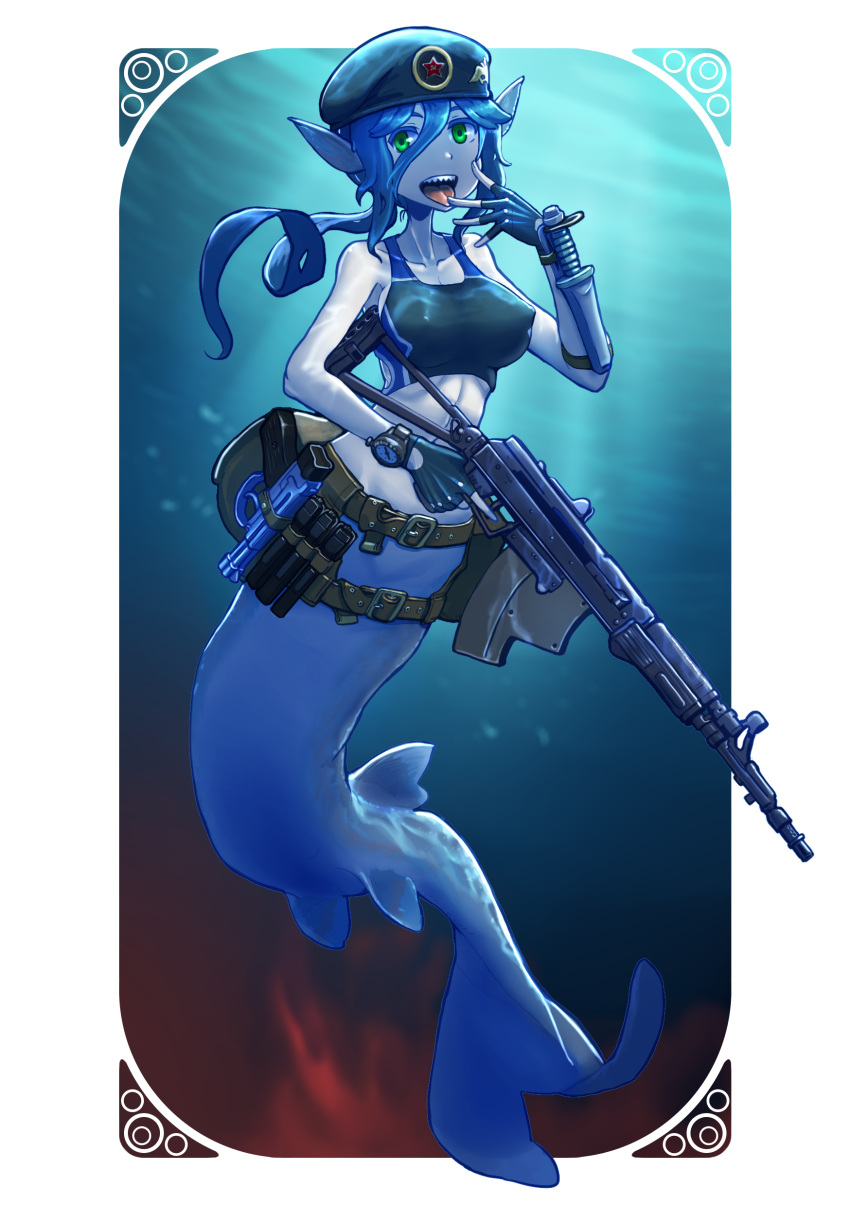 1girl :d absurdres assault_rifle belt beret black_gloves blue_hair breasts erect_nipples erica_(naze1940) fingerless_gloves gloves green_eyes gun hand_holding hat highres holding holding_gun holding_weapon holster long_hair looking_at_viewer mermaid monster_girl open_mouth original pale_skin pointy_ears ponytail rifle sharp_teeth smile solo tank_top teeth tongue tongue_out weapon