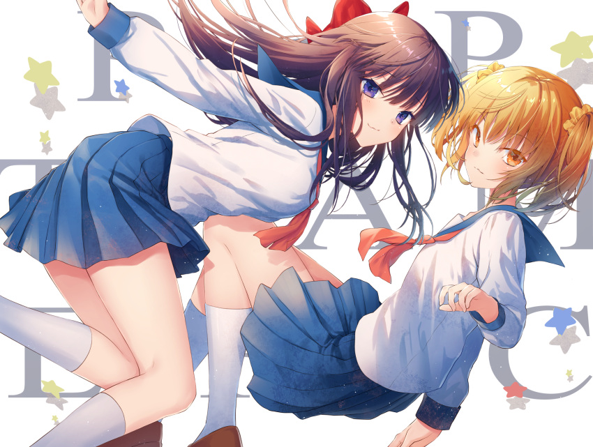 2girls :3 bangs blue_sailor_collar blue_skirt bow brown_footwear brown_hair closed_mouth commentary_request copyright_name eyebrows_visible_through_hair hair_between_eyes hair_bow hair_ornament hair_scrunchie highres kneehighs kuro_futoshi loafers long_hair long_sleeves multiple_girls neckerchief orange_eyes orange_hair orange_neckwear orange_scrunchie pipimi pleated_skirt poptepipic popuko red_bow sailor_collar school_uniform scrunchie serafuku shirt shoes skirt star twintails very_long_hair violet_eyes white_background white_legwear white_shirt