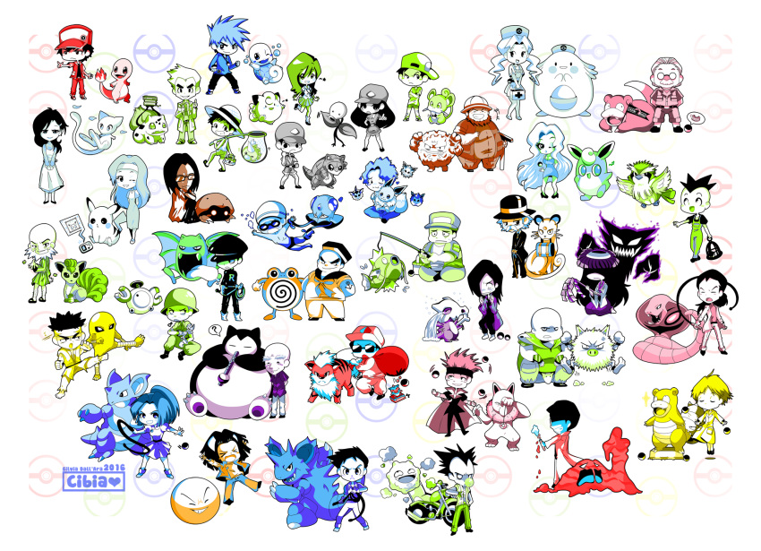 2016 6+boys 6+girls :d absolutely_everyone ace_trainer_(pokemon) arbok armor backwards_hat bag bald baoba_(pokemon) baseball_cap beauty_(pokemon) bellsprout biker_(pokemon) bird_keeper_(pokemon) black_belt_(pokemon) bone bug_catcher_(pokemon) bulbasaur burglar_(pokemon) cage camper_(pokemon) channeler_(pokemon) chansey charmander chewing_gum cibia clefairy commentary creature crying cubone dentures dress eevee electrode engineer_(pokemon) everyone fisherman_(pokemon) fishing_rod flareon flute flying game_boy gen_1_pokemon gentleman_(pokemon) glasses goggles golbat graveler grin growlithe handheld_game_console hands_together hat haunter headband heart helmet highres hiker_(pokemon) hitmonlee holding holding_bone holding_cage holding_pendulum holding_whip hypno instrument japanese_armor jolteon juggler_(pokemon) juggling kabuto koffing lass_(pokemon) legs_apart legs_crossed long_hair long_sleeves looking_at_viewer looking_away magikarp magnemite mew mohawk mother_(pokemon) mouth_hold muk multiple_boys multiple_girls multiple_monochrome music nidoking nidoqueen nurse nurse_(pokemon) nurse_cap one_eye_closed ookido_nanami ookido_yukinari open_mouth pendulum persian pi_(pokemon) picnicker_(pokemon) pidgey pikachu playing_instrument poke_ball poke_ball_(generic) poke_flute pokemaniac_(pokemon) pokemon pokemon_(creature) pokemon_(game) pokemon_rgby poliwhirl primeape psychic_(pokemon) rattata red_(pokemon) red_(pokemon)_(classic) rocker_(pokemon) roughneck_(pokemon) sailor_(pokemon) sandshrew scientist scientist_(pokemon) seiza shoes short_sleeves signature sitting skirt slowbro slowpoke smile snorlax sonezaki_masaki speech_bubble spiky_hair spoken_object squirtle standing standing_on_one_leg sunglasses super_nerd_(pokemon) swimmer_(pokemon) tamer_(pokemon) team_rocket team_rocket_grunt team_rocket_uniform telekinesis tentacool tongue tongue_out vaporeon vulpix walking weedle whip white_background wigglytuff youngster_(pokemon)