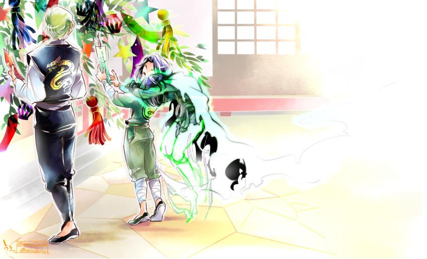 2boys bandage black_hair blonde_hair bodysuit cape child closed_eyes ghost gloves hug hug_from_behind japanese_clothes male_focus morro multicolored_hair multiple_boys ninjago short_hair smile streaked_hair tanabata the_lego_group time_paradox wu_(ninjago) younger