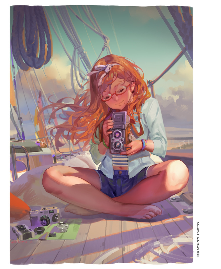 1girl alphonse_(white_datura) barefoot blue_jacket blue_shorts blue_sky boat bracelet brown_hair camera closed_eyes closed_mouth clouds crossed_ankles day glasses hair_ribbon head_tilt highres holding holding_camera jacket jewelry light_smile long_hair long_sleeves navel open_clothes open_jacket original outdoors red-framed_eyewear ribbon rope sailboat short_shorts shorts sitting sky smile solo striped toenails watercraft