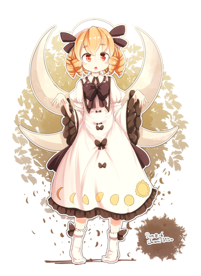 1girl 2017 bangs blush_stickers bow bowtie brown_background brown_bow brown_neckwear brown_ribbon character_name chestnut_mouth collared_dress commentary_request dated dress drill_hair eyebrows_visible_through_hair fairy_wings frilled_sleeves frills full_body furim hat hat_ribbon heel_raised highres juliet_sleeves leaf leaf_background long_sleeves looking_at_viewer luna_child moon_phases moon_print open_mouth orange_eyes orange_hair puffy_sleeves ribbon ribbon-trimmed_legwear ribbon_trim shiny shiny_hair side_drill signature socks solo standing sun_print tareme thick_eyebrows tongue touhou two-tone_background white_background white_dress white_hat white_legwear wide_sleeves wings