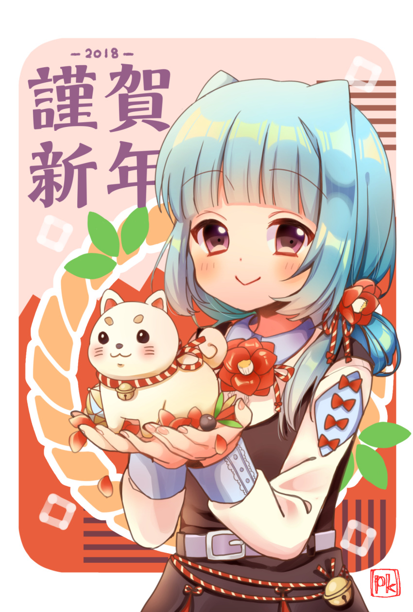 1girl 2018 :> animal ball bangs bell black_dress blue_hair blush chinese_zodiac closed_mouth commentary_request dog dress eyebrows_visible_through_hair fingernails highres holding holding_animal holding_dog jingle_bell long_hair long_sleeves looking_at_viewer nail_polish nengajou new_year original pink_nails pk_(mukasihasakana) rope shimenawa shirt signature sleeveless sleeveless_dress solo temari_ball violet_eyes white_shirt year_of_the_dog