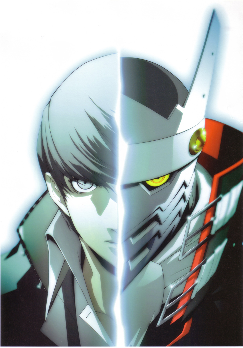 blue_eyes grey_hair highres izanagi narukami_yuu official_art persona persona_4 seta_souji shigenori_soejima soejima_shigenori yellow_eyes