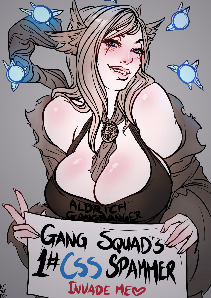 1girl absurdres biting blue_eyes blush breasts brown_hair cleavage dark_souls english head_wings highres large_breasts lip_biting lips looking_at_viewer nat_the_lich naughty_face off_shoulder scar scar_across_eye sign solo sorceress souls_(from_software) staff v