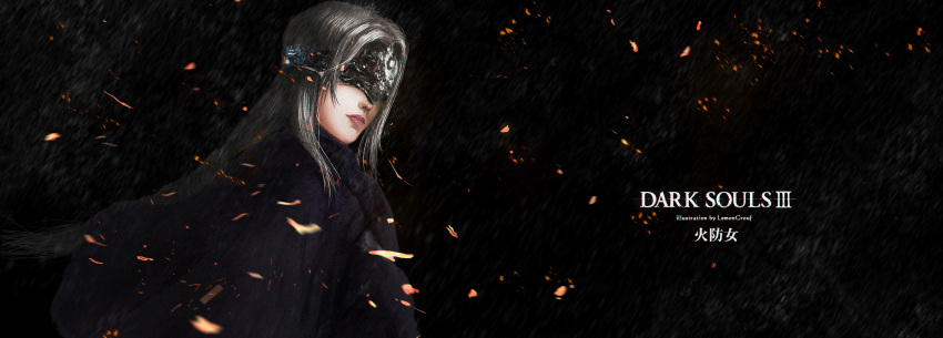 1girl absurdres artist_name cape closed_mouth copyright_name covered_eyes dark_background dark_souls_iii fire_keeper grey_hair highres long_hair murasaki_saki red_lips solo souls_(from_software) sparks visor_(armor)
