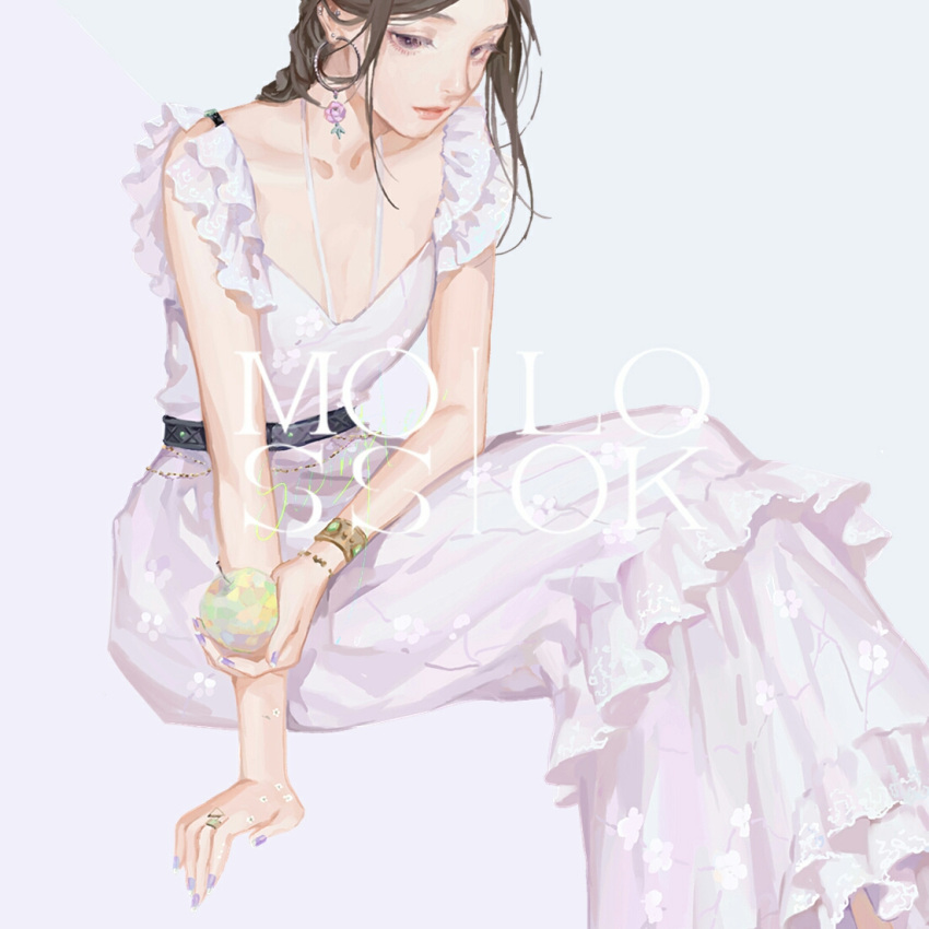 1girl apple artist_name bracelet brown_hair collarbone commentary dress earrings food fruit holding jewelry long_hair looking_at_viewer moss_(2225028) nail_polish orange_eyes original out_of_frame ring simple_background solo violet_eyes