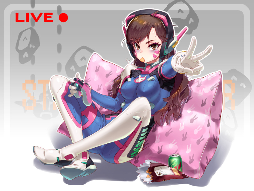 1girl animal_print bodysuit breasts brown_eyes brown_hair bunny_print can chips commentary controller d.va_(overwatch) dualshock facial_mark food game_controller gamepad gloves headphones long_hair looking_at_viewer medium_breasts mouth_hold overwatch pillow pink_pillow print_pillow sitting solo v white_gloves winddale