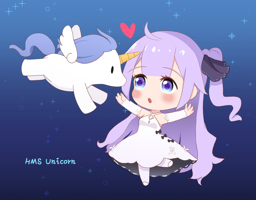 1girl :o ahoge azur_lane bangs bare_shoulders black_bow black_ribbon blush bow character_name chibi criss-cross_halter detached_sleeves dress eyebrows_visible_through_hair hair_bun hair_ribbon halterneck heart leng_xiao long_sleeves one_side_up outstretched_arm pantyhose parted_lips purple_hair ribbon side_bun solo sparkle standing standing_on_one_leg stuffed_animal stuffed_pegasus stuffed_toy stuffed_unicorn unicorn_(azur_lane) violet_eyes white_dress white_footwear white_legwear