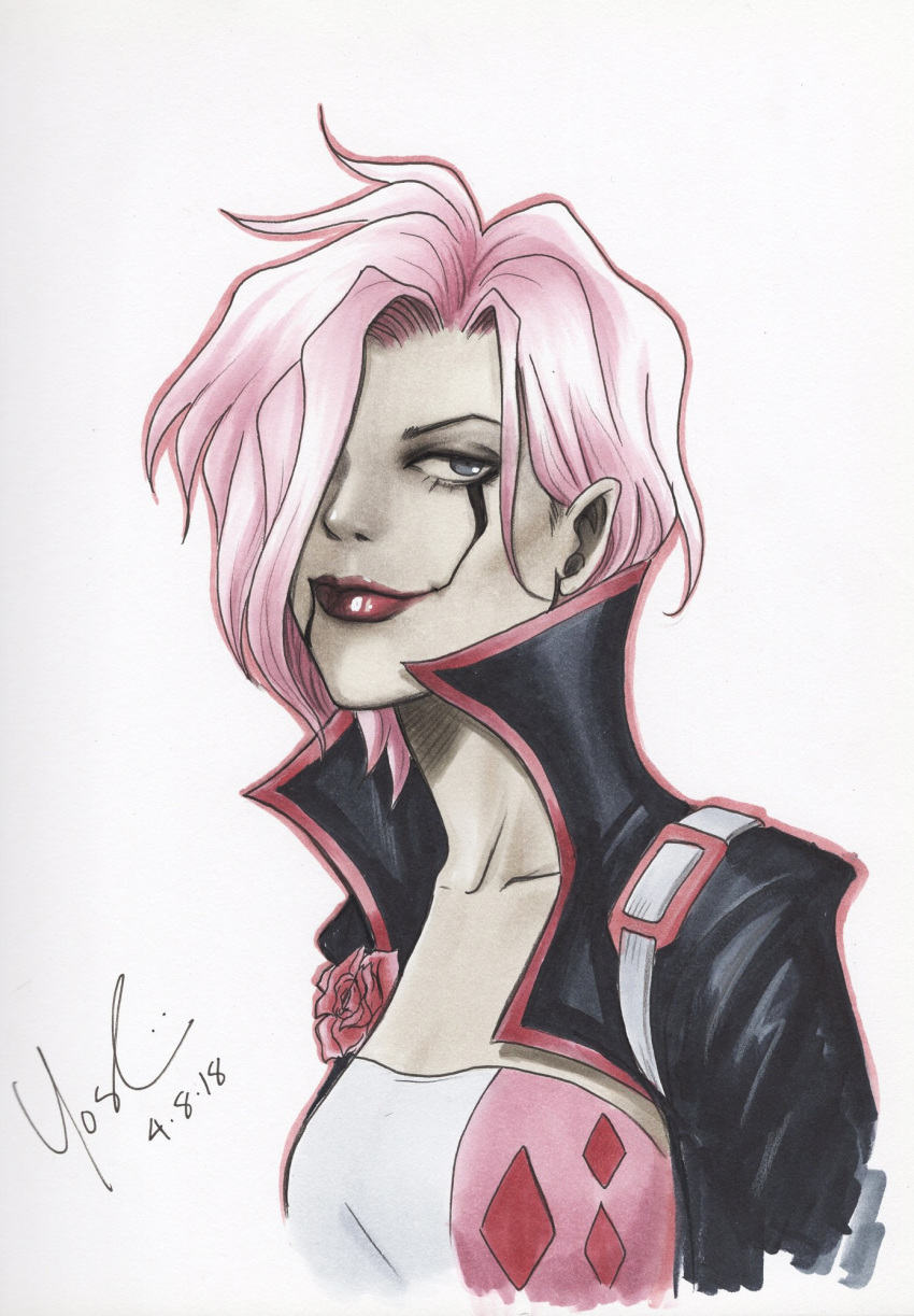 1girl artist_name batman:_white_knight batman_(series) collarbone dated dc_comics hair_over_one_eye highres lipstick lynne_yoshii makeup marian_drews neo_joker pink_hair short_hair solo upper_body white_background