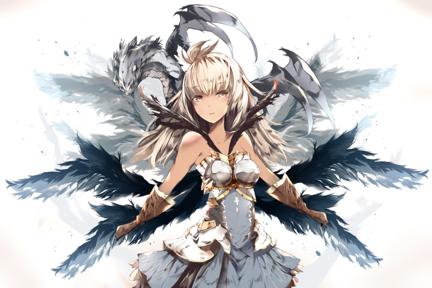 1girl animal armor armored_dress bangs bare_shoulders black_wings blush breasts brown_eyes brown_gloves collarbone commentary_request dark_skin dragon dress eyebrows_visible_through_hair feathered_wings gloves granblue_fantasy hair_between_eyes head_tilt highres light_brown_hair long_hair looking_at_viewer medium_breasts multiple_wings parted_lips solo the_order_grande venomrobo white_background white_dress wings