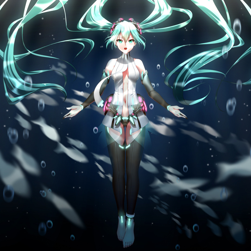 1girl absurdly_long_hair aqua_hair barefoot black_legwear black_panties breasts bubble cleavage detached_sleeves eyebrows_visible_through_hair fish floating_hair full_body geduan green_eyes hair_between_eyes hair_ornament hatsune_miku highres long_hair medium_breasts midriff miku_append navel open_mouth panties solo stomach thigh-highs twintails underwater underwear very_long_hair vocaloid vocaloid_append