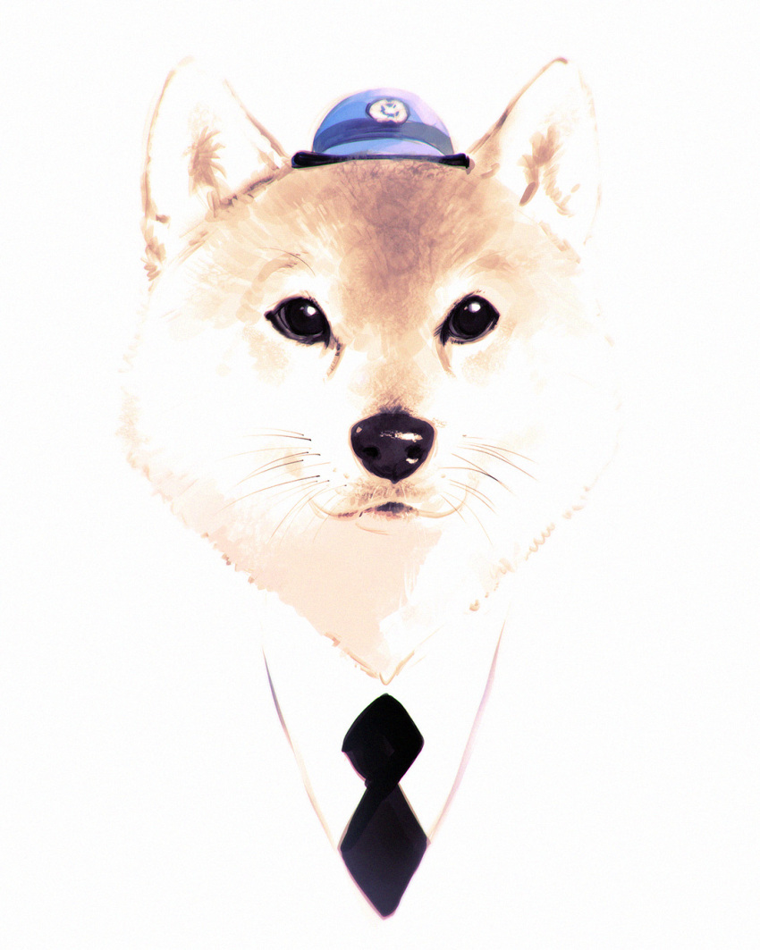 animal black_eyes black_neckwear clothed_animal commentary_request dog hat highres ilya_kuvshinov looking_at_viewer necktie no_humans original police_hat shiba_inu shirt solo whiskers white_shirt