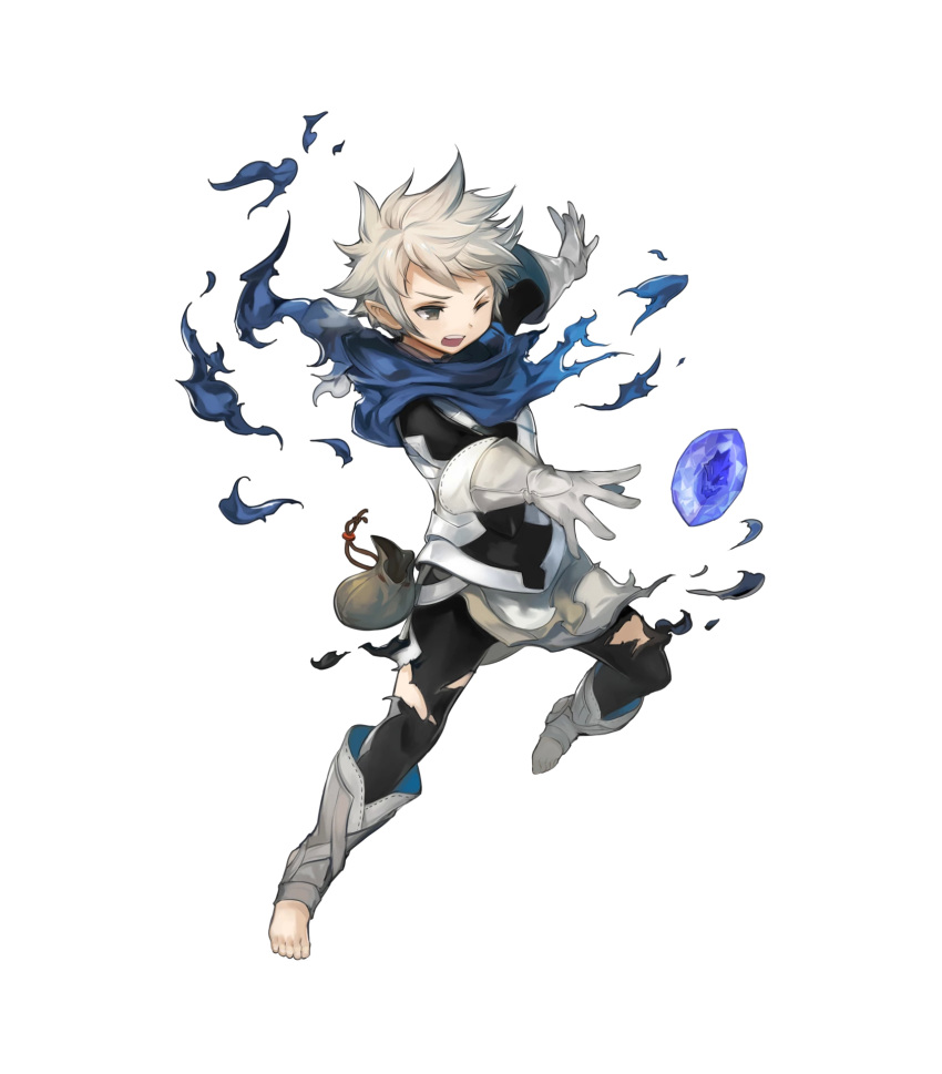 1boy armor bandanna barefoot brown_eyes child fire_emblem fire_emblem_heroes fire_emblem_if full_body gem gloves grey_hair highres kanna_(fire_emblem_if) kawasumi_mahiro male_focus official_art one_eye_closed open_mouth pointy_ears solo teeth torn_clothes transparent_background