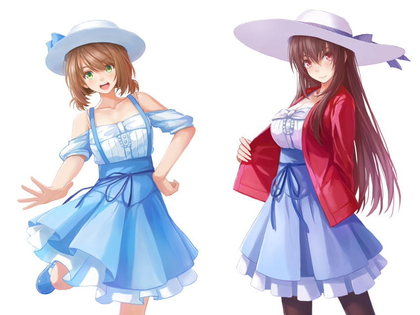 2girls :d arm_behind_back bare_shoulders black_legwear blue_footwear blue_ribbon blush breasts brown_hair cleavage closed_mouth collarbone green_eyes hand_on_hip hat hat_ribbon highres jacket kasumigaoka_utaha large_breasts layered_skirt leg_up legs_up light_brown_hair lips long_hair long_skirt long_sleeves looking_at_viewer low_twintails mary_janes multiple_girls off-shoulder_shirt open_clothes open_jacket open_mouth outstretched_arm pantyhose purple_skirt red_eyes red_jacket redpoke ribbon round_teeth saenai_heroine_no_sodatekata sagara_mayu shirt shoes short_hair short_sleeves short_twintails simple_background skirt smile standing standing_on_one_leg straight_hair sun_hat suspender_skirt suspenders tareme teeth twintails very_long_hair white_background white_hat white_shirt