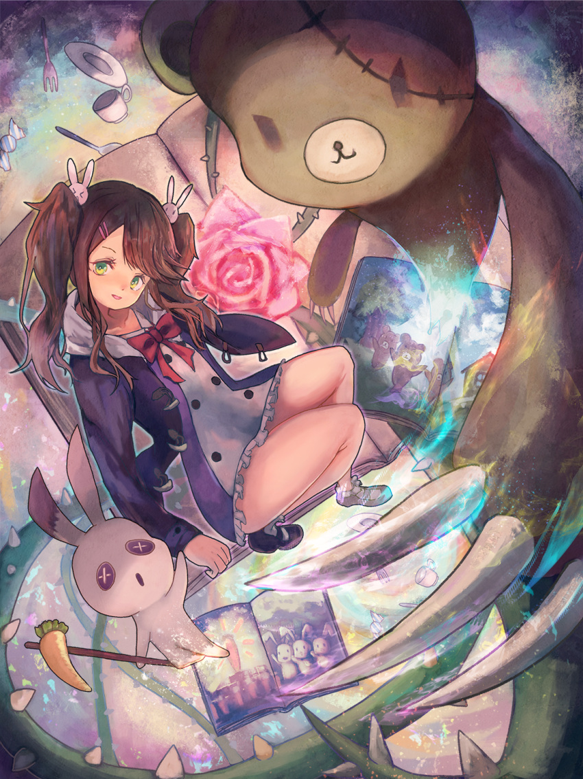 1girl bad_perspective black_footwear book bunny_hair_ornament flower green_eyes hair_ornament hairclip highres looking_at_viewer open_book original picture_book rose shin_murasame solo spoon stuffed_animal stuffed_bunny stuffed_toy teddy_bear thorns twintails wrapped_candy