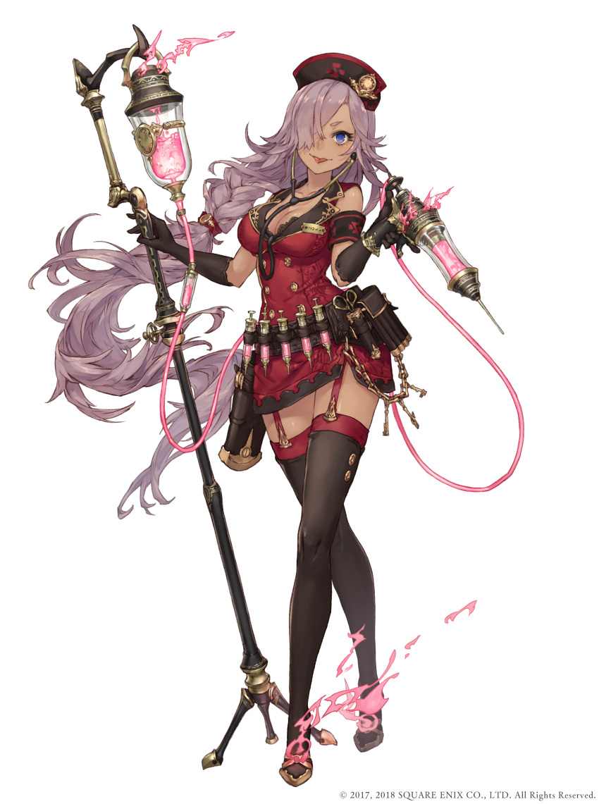 1girl absurdres armband belt blue_eyes boots cinderella_(sinoalice) dark_skin full_body garter_straps hair_over_one_eye hat high_heels highres intravenous_drip jino legs_crossed long_hair name_tag nurse nurse_cap official_art purple_hair sinoalice solo stethoscope syringe thigh-highs thigh_boots tongue tongue_out very_long_hair watson_cross white_background