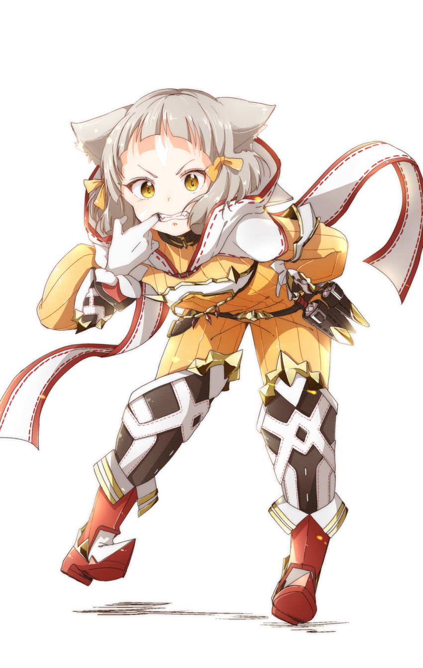 1girl animal_ears bafarin bangs belt blunt_bangs bodysuit boots cat_ears full_body gloves hair_ornament hair_ribbon hand_on_hip highres hood knee_boots looking_at_viewer niyah ribbed_bodysuit ribbon short_hair silver_hair simple_background smile solo standing white_background white_gloves xenoblade xenoblade_(series) xenoblade_2 yellow_bodysuit yellow_eyes yellow_ribbon