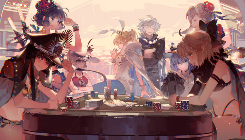 1boy 6+girls :q ahoge artist_name artoria_pendragon_(all) artoria_pendragon_(swimsuit_ruler)_(fate) bead_bracelet beads black_hair blonde_hair blue_legwear bracelet breasts cape closed_eyes closed_mouth commentary_request copyright_name crossed_arms dice fate/grand_order fate_(series) fishnet_pantyhose fishnets fur_trim hair_ornament hat jewelry katana katsushika_hokusai_(fate/grand_order) katsushika_hokusai_(swimsuit_saber)_(fate) kawacy long_hair medium_breasts meltryllis meltryllis_(swimsuit_lancer)_(fate) miyamoto_musashi_(fate/grand_order) miyamoto_musashi_(swimsuit_berserker)_(fate) mouth_hold multiple_girls oda_nobunaga_(fate) oda_nobunaga_(swimsuit_berserker)_(fate) okita_souji_(fate)_(all) okita_souji_(swimsuit_assassin)_(fate) open_mouth pantyhose ponytail purple_hair red_eyes short_hair silver_hair sitting smile sunglasses swimsuit sword tongue tongue_out violet_eyes weapon white_cape white_hair