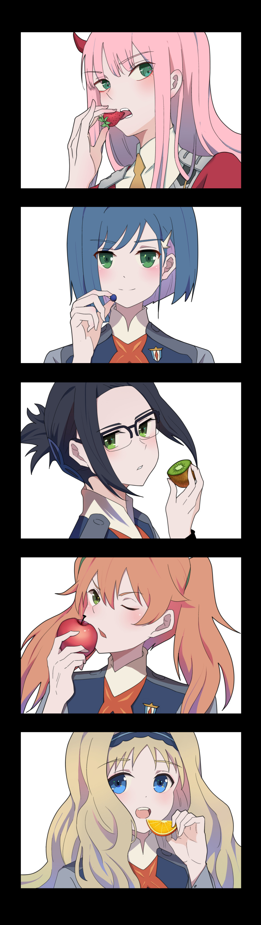 absurdres apple artist_request commentary_request darling_in_the_franxx eating food fruit glasses grapes highres ichigo_(darling_in_the_franxx) ikuno_(darling_in_the_franxx) incredibly_absurdres kiwi_slice kokoro_(darling_in_the_franxx) miku_(darling_in_the_franxx) military military_uniform orange orange_slice strawberry uniform zero_two_(darling_in_the_franxx)