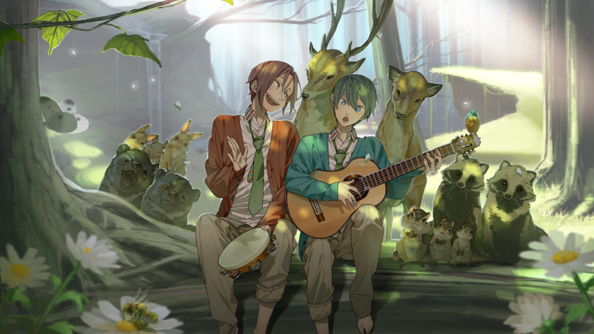 2boys acoustic_guitar alternate_costume aqua_cardigan aqua_eyes bangs barefoot bear bee bird black_hair blurry blush brown_pants bug butterfly cardigan chipmunk cliff collared_shirt commentary_request daisy dappled_sunlight day deer depth_of_field dress_shirt flower forest free! grass green_neckwear guitar hair_between_eyes hana_bell_forest head_tilt highres holding holding_instrument insect instrument light_rays long_sleeves looking_at_another loose_necktie male_focus matsuoka_rin multiple_boys music nanase_haruka_(free!) nature necktie open_cardigan open_clothes open_mouth orange_cardigan outdoors pants parted_bangs playing_instrument rabbit raised_eyebrows red_eyes redhead sharp_teeth shirt singing sitting squirrel sunbeam sunlight tambourine tanuki teeth tree tree_shade under_tree white_flower white_shirt wing_collar