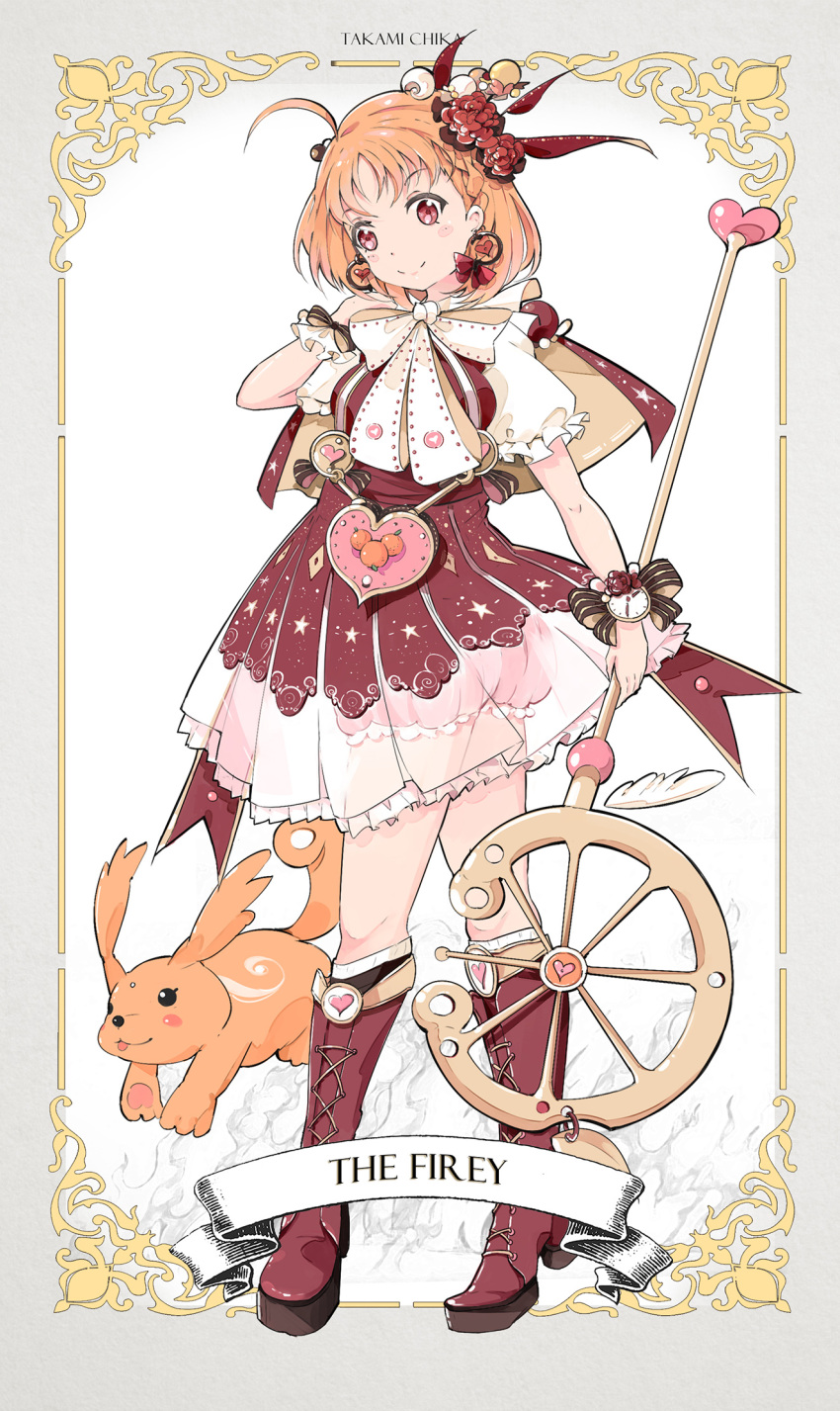 1girl ahoge bangs bloomers blush_stickers boots bow bowtie braid capelet character_name clock creature cross-laced_footwear dress earrings english feathers flower frilled_sleeves frills hair_bobbles hair_feathers hair_flower hair_ornament hair_stick hand_on_own_shoulder heart heart_earrings heart_print highres holding holding_staff jewelry knee_boots love_live! love_live!_sunshine!! orange_hair orange_print pouch qianqian red_eyes red_flower red_footwear sash short_hair side_braid smile solo staff striped striped_bow takami_chika underwear white_neckwear wrist_bow wrist_cuffs