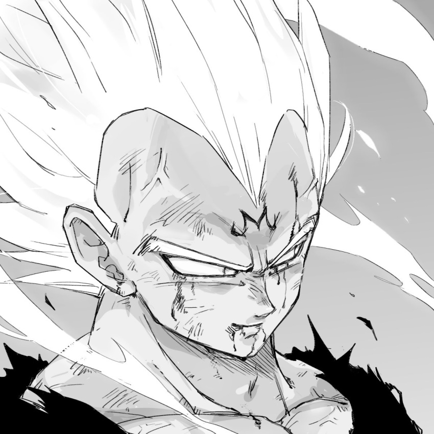 1boy black_shirt close-up commentary dirty dirty_face dragon_ball dragonball_z face frown greyscale highres looking_away majin_vegeta male_focus monochrome shirt short_hair simple_background smile spiky_hair tkgsize upper_body vegeta