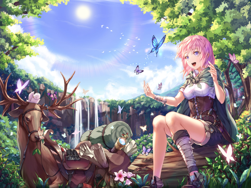 1girl :d absurdres animal animal_on_head bandage bird bird_on_head black_shorts blue_butterfly blue_eyes blue_sky bug butterfly chyopeuteu corset day deer dress_shirt forest green_cloak highres insect knife nature on_head open_mouth original outdoors pink_hair purple_butterfly sheath sheathed shirt short_shorts shorts sitting sky smile solo sun water waterfall white_shirt