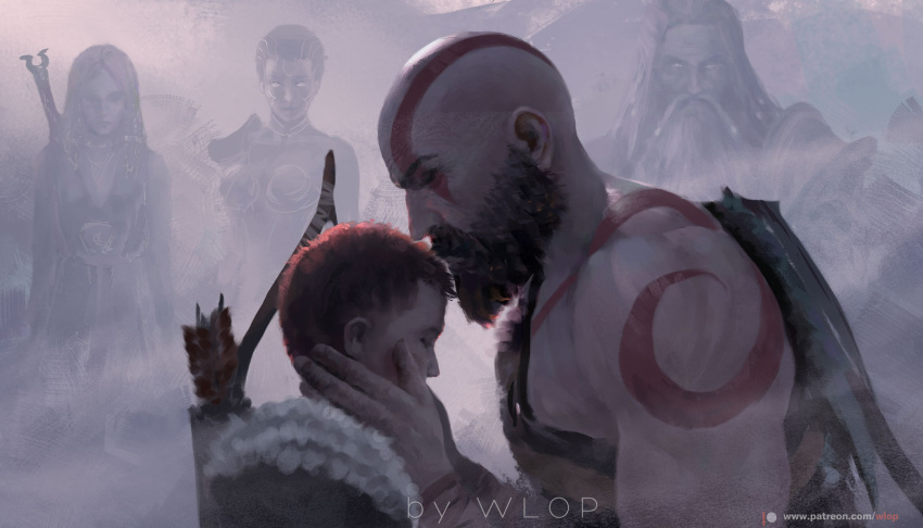 2girls 3boys artist_name bald beard bodypaint bow_(weapon) breasts closed_eyes closed_mouth facial_hair god_of_war hand_on_another's_neck multicolored multicolored_clothes multiple_boys multiple_girls muscle mustache quiver short_hair weapon wlop