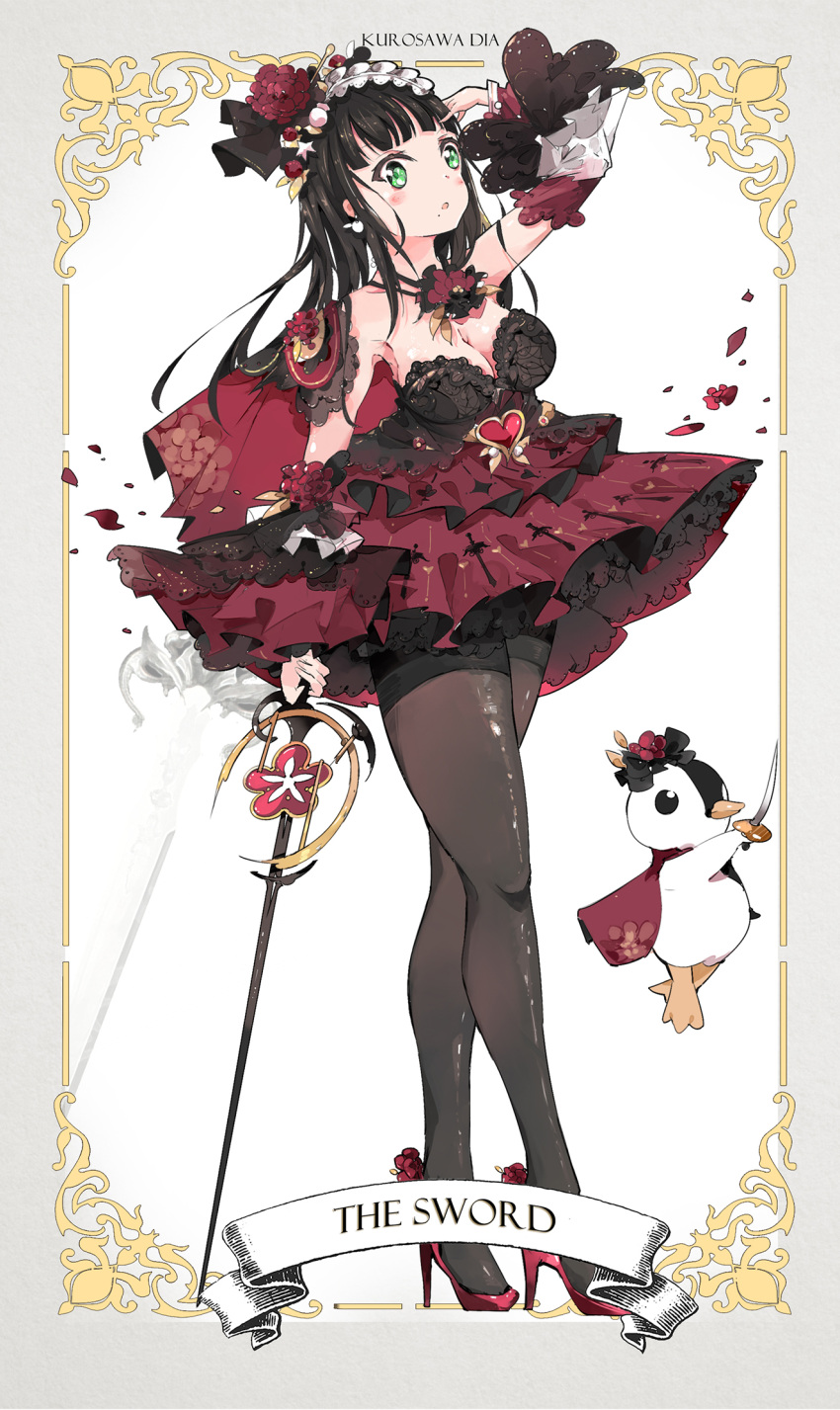 1girl :o arm_up bangs bird black_hair black_legwear blush breasts cape character_name cleavage detached_sleeves dress earrings english flower full_body green_eyes grey_border hair_flower hair_ornament hairband hand_on_own_head heart high_heels highres jewelry kurosawa_dia large_breasts lolita_hairband long_hair love_live! love_live!_sunshine!! mole mole_under_mouth pantyhose penguin petals print_dress qianqian red_dress red_footwear solo strapless strapless_dress sword thighband_pantyhose two-tone_dress weapon