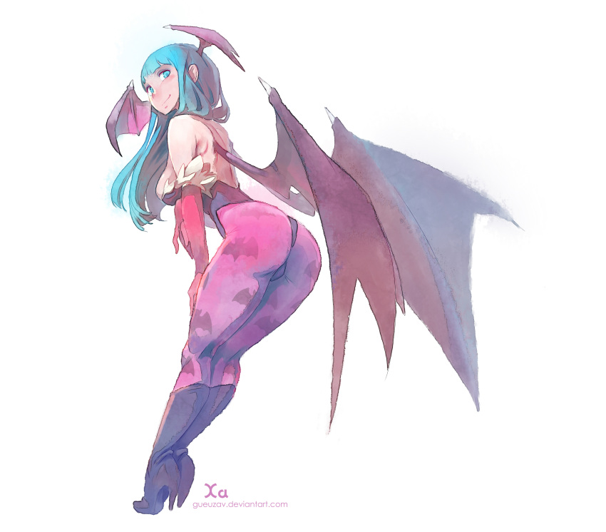 1girl absurdres animal_print aqua_hair ass backless_outfit bat_print breasts cleavage demon_girl full_body hand_on_thigh head_wings high_heel_boots high_heels highres large_breasts leaning_forward leotard looking_at_viewer morrigan_aensland pantyhose print_legwear simple_background solo succubus vampire_(game) watermark web_address white_background wings xavier_houssin
