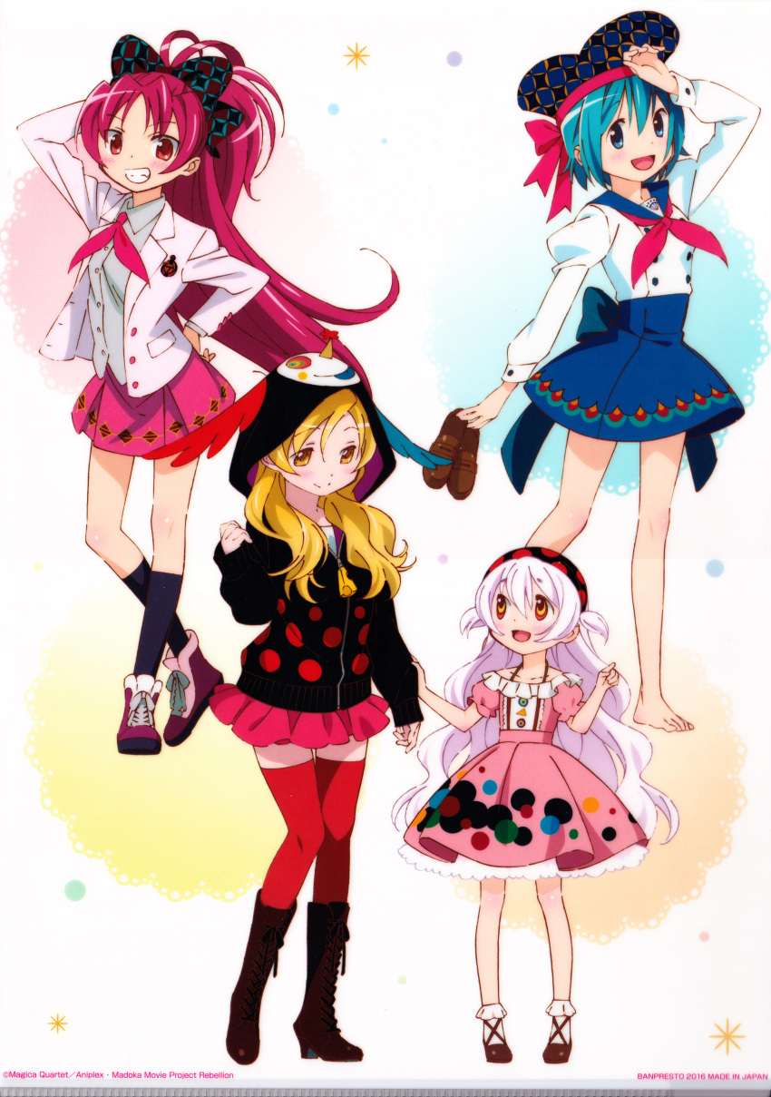 4girls absurdres adapted_costume alternate_costume alternate_hairstyle argyle argyle_skirt arm_at_side arm_behind_head back_bow bangs bare_arms barefoot black_hairband black_hoodie black_legwear blonde_hair blue_bow blue_eyes blue_hair blue_sailor_collar blue_skirt blush_stickers bobby_socks boots bow brown_footwear calf_socks center_frills character_print charlotte_(madoka_magica) child clenched_teeth closed_mouth clothes_grab collarbone collared_shirt colorful contrapposto cross-laced_footwear crossed_ankles dot_nose dress dress_shirt eyebrows_visible_through_hair feathers food-themed_clothes frilled_skirt frilled_sleeves frills full_body grey_shirt grin hair_between_eyes hair_down hair_ribbon hairband halter_dress halterneck hand_on_hip hand_on_own_head hand_up hat hat_ribbon height_difference high-waist_skirt high_ponytail highres holding holding_clothes holding_footwear hood hood_up hoodie index_finger_raised jacket juliet_sleeves knee_blush knee_boots knees_together_feet_apart lace_background layered_dress light_blush loafers long_hair long_sleeves looking_at_another looking_down mahou_shoujo_madoka_magica mahou_shoujo_madoka_magica_movie miki_sayaka miniskirt momoe_nagisa multicolored multicolored_eyes multiple_girls neckerchief official_art oktavia_von_seckendorff open_clothes open_jacket parted_bangs partially_unzipped pink_dress pink_skirt pleated_skirt pointing polka_dot polka_dot_background polka_dot_dress polka_dot_hairband polka_dot_hoodie ponytail puffy_short_sleeves puffy_sleeves red_eyes red_footwear red_legwear red_neckwear redhead ribbon ringed_eyes sailor_collar sakura_kyouko shiny shiny_hair shirt shoes shoes_removed short_dress short_hair short_sleeves side-by-side simple_background skirt sleeve_tug sleeves_past_wrists smile sneakers socks sparkle sparkle_background standing teeth thigh-highs tomoe_mami tongue tongue_out tsurime two-sided_fabric two-sided_headwear two-sided_hoodie two_side_up undershirt wavy_hair white_background white_hair whi