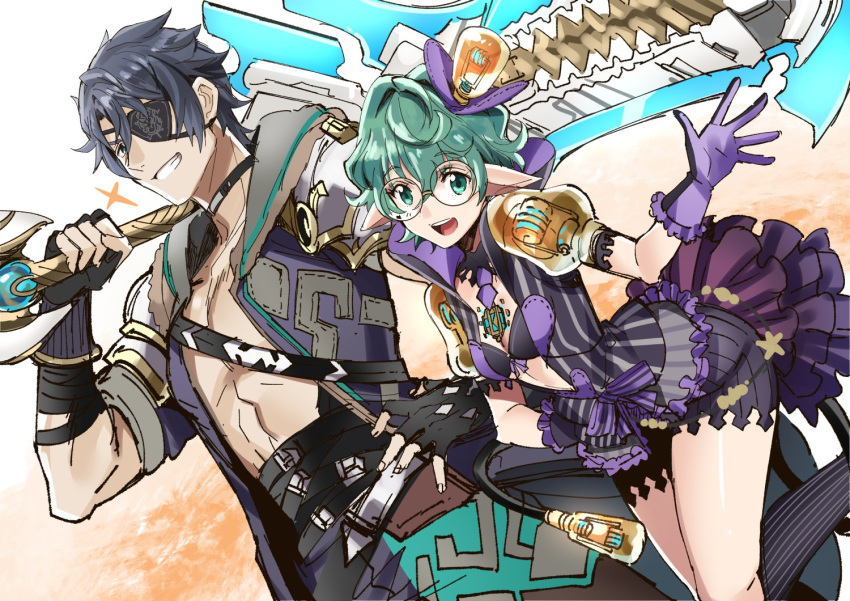 1girl armor breasts closed_eyes curly_hair eyepatch fingerless_gloves glasses gloves hat jacket long_hair looking_at_viewer opaque_glasses open_mouth pointy_ears saika_(xenoblade) shimo_(s_kaminaka) short_hair sieg_b_goku_genbu smile xenoblade_(series) xenoblade_2