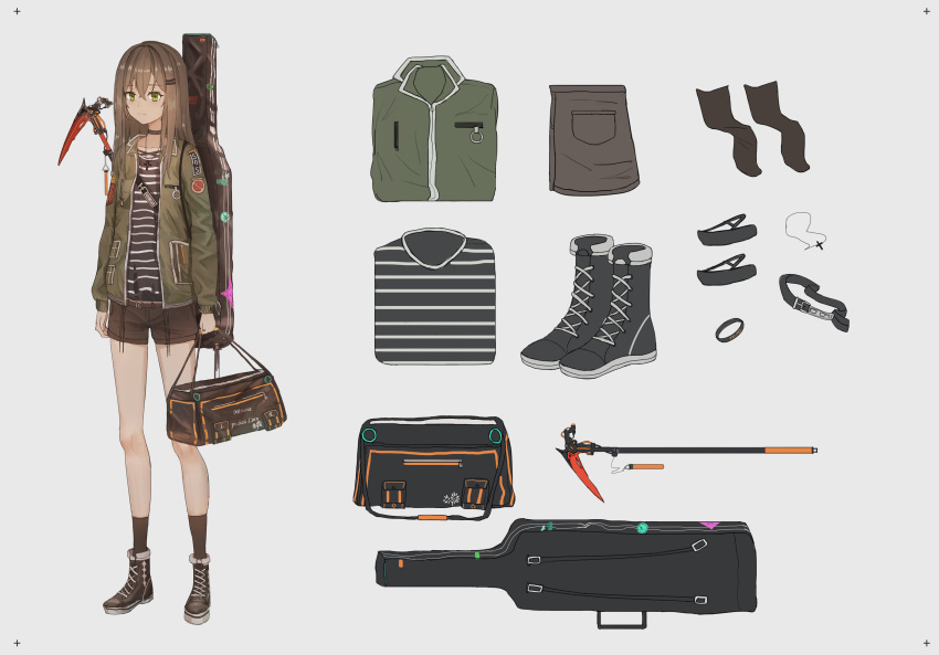 1girl absurdres aer7o bangs boots brown_footwear brown_hair brown_legwear brown_shorts character_sheet cross cross_necklace eyebrows_visible_through_hair green_eyes green_jacket grey_background hair_between_eyes hair_ornament hairclip highres holding_bag instrument_case jacket jewelry long_hair long_sleeves necklace open_clothes open_jacket original scythe shirt short_shorts shorts simple_background socks solo striped striped_shirt