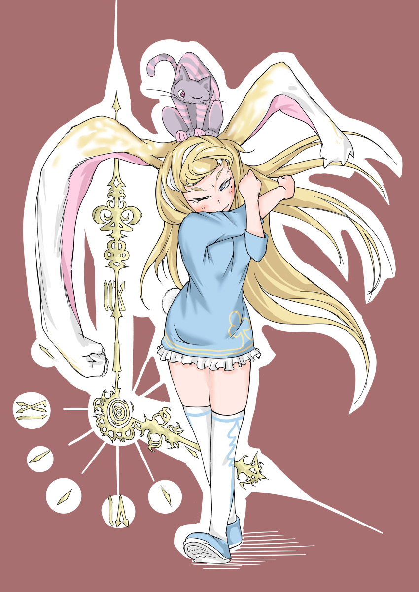 1girl absurdres animal animal_ears animal_on_head blonde_hair blue_dress blue_footwear blush bunny_tail cat cat_on_head clock closed_mouth commentary_request doitsuken dress highres looking_at_viewer mole mole_under_eye on_head one_eye_closed original outline over-kneehighs prehensile_ears rabbit_ears red_background roman_numerals shoes short_dress simple_background standing stretch tail thigh-highs white_legwear white_outline yellow_eyes