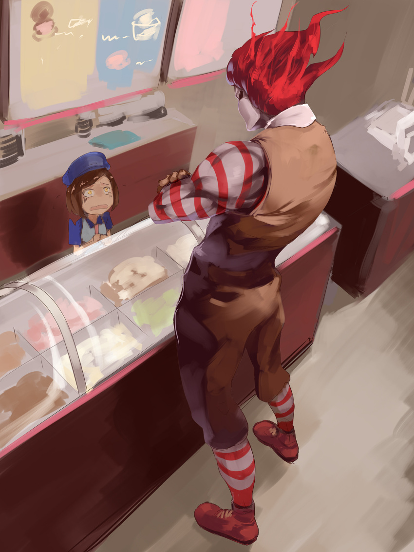 1boy 1girl asutora brown_hair brown_pants brown_vest commentary_request crossed_arms dio_brando hat highres indoors jojo_pose mcdonald's muscle open_mouth pants pose red_footwear redhead ronald_mcdonald scared shoes standing striped striped_legwear tearing_up vest wide-eyed yellow_eyes
