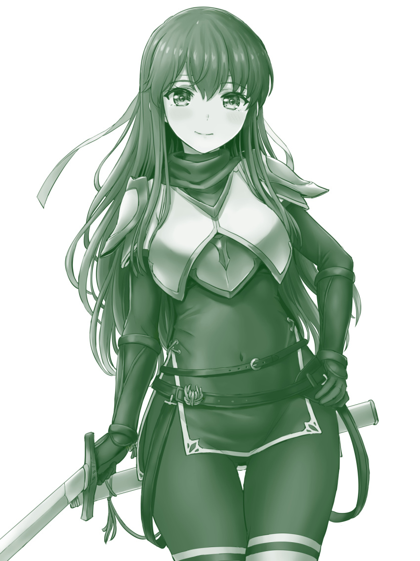 1girl armor ass_visible_through_thighs bangs belt breastplate brown_legwear closed_mouth covered_navel cowboy_shot dress elbow_gloves eyebrows_visible_through_hair fire_emblem fire_emblem:_monshou_no_nazo fire_emblem_heroes gloves green hand_on_hip headband highres holding holding_sword holding_weapon inanaki_shiki long_hair looking_at_viewer monochrome pantyhose paola pegasus_knight scabbard sheath short_dress shoulder_armor side_slit sidelocks simple_background smile solo sword thigh-highs thigh_gap unsheathed weapon white_background