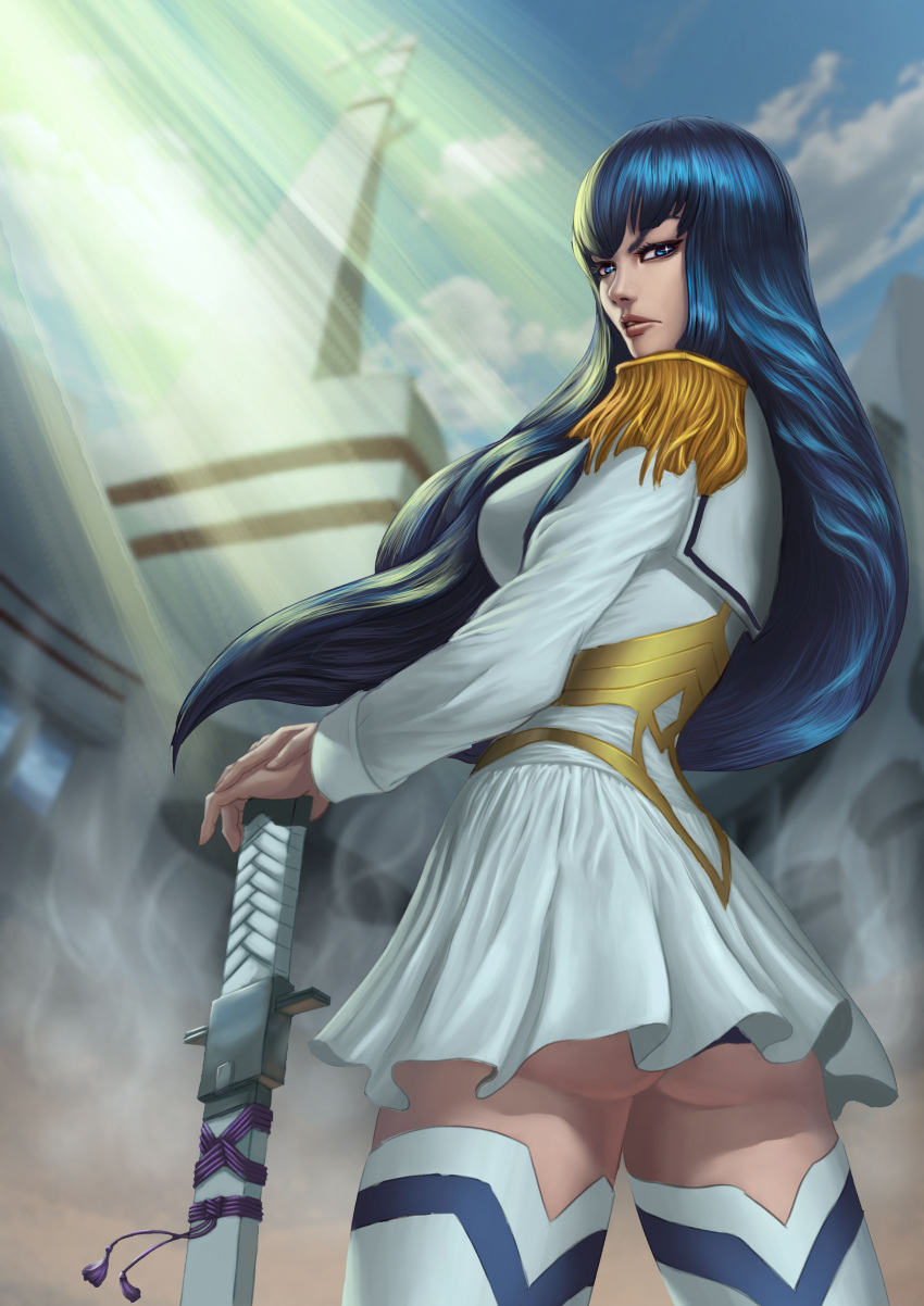 1girl absurdres ass bakuzan black_hair blue_eyes boots breasts epaulettes high_heel_boots high_heels highres junketsu kill_la_kill kiryuuin_satsuki long_hair school_uniform serafuku skirt solo sword weapon white_skirt zamberz
