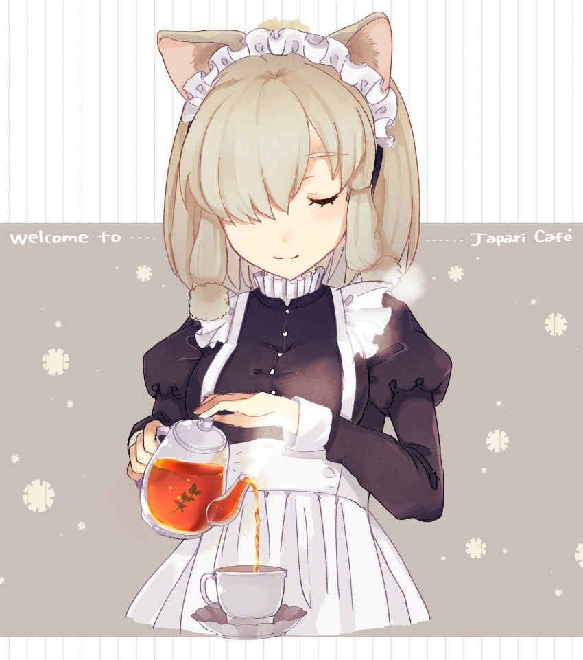1girl alpaca_suri_(kemono_friends) alternate_costume ancolatte_(onikuanco) apron closed_eyes commentary_request cup enmaided hair_bun hair_over_one_eye hair_tubes highres juliet_sleeves kemono_friends long_sleeves maid maid_apron maid_headdress pouring puffy_sleeves short_hair smile solo tea teacup teapot white_hair