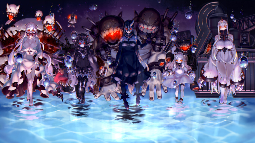 5girls ahoge anklet barefoot battleship_water_oni black_hair boots breasts bubble claws cleavage cleavage_cutout dress elbow_gloves enemy_aircraft_(kantai_collection) fingernails fishnet_legwear fishnets gloves glowing glowing_eyes gothic_lolita hair_between_eyes highres horn horns isolated_island_oni jewelry kantai_collection kareha_(sakura-turibito) large_breasts lolita_fashion long_hair looking_at_viewer machinery midway_hime mittens monster multiple_girls northern_ocean_hime open_mouth pale_skin panties red_eyes seaport_hime sharp_fingernails shinkaisei-kan short_dress short_eyebrows skirt skirt_lift sleeves_past_wrists thigh-highs thigh_boots tongue tongue_out turret underwear veins walking walking_on_liquid white_hair
