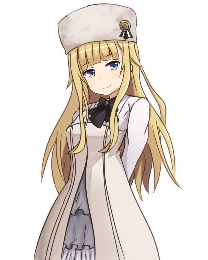 1girl arms_behind_back bangs black_bow blonde_hair blue_eyes blush bow closed_mouth commentary_request dress eyebrows_visible_through_hair fur_hat hair_flaps hat head_tilt highres long_hair long_sleeves looking_at_viewer mitchi princess_(princess_principal) princess_principal sidelocks smile solo very_long_hair