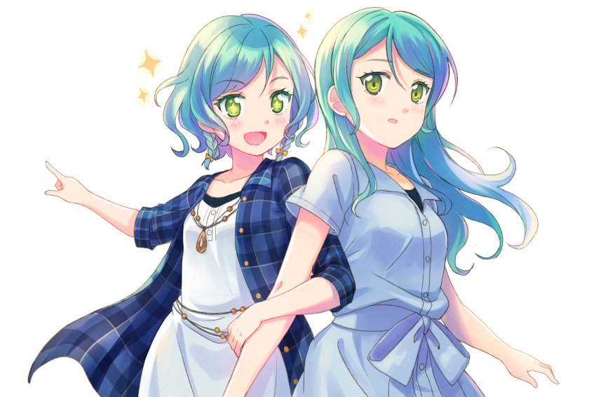 +_+ 2girls :d aqua_hair bang_dream! blue_dress blue_shirt blush dress eyebrows_visible_through_hair green_eyes hikawa_hina hikawa_sayo jewelry locked_arms long_hair multiple_girls necklace open_mouth plaid plaid_shirt pointing shati shirt short_hair short_sleeves siblings side_braids simple_background sisters sleeves_folded_up smile sparkle sparkling_eyes twins white_background white_dress