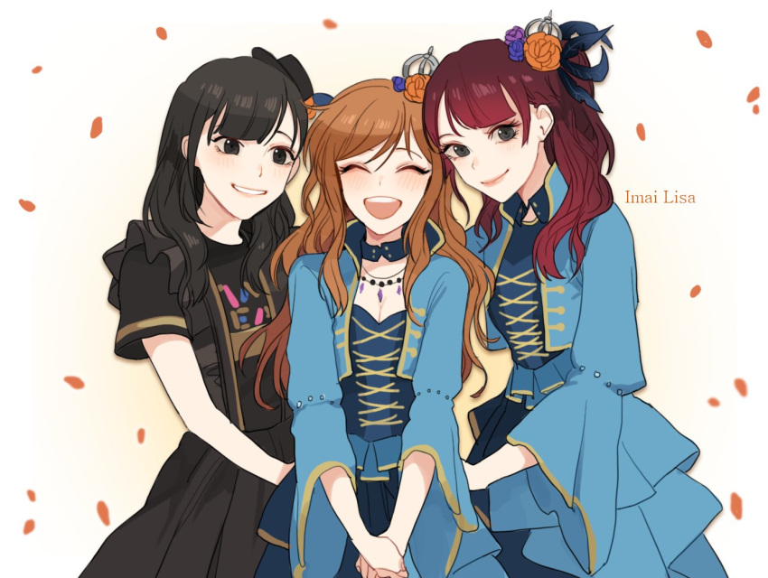 3girls bang_dream! black_eyes black_hair breasts brown_hair cleavage endou_yurika flower giji-p grin hair_flower hair_ornament hands_together imai_lisa jewelry multiple_girls necklace open_mouth petals ponytail redhead seiyuu seiyuu_connection smile