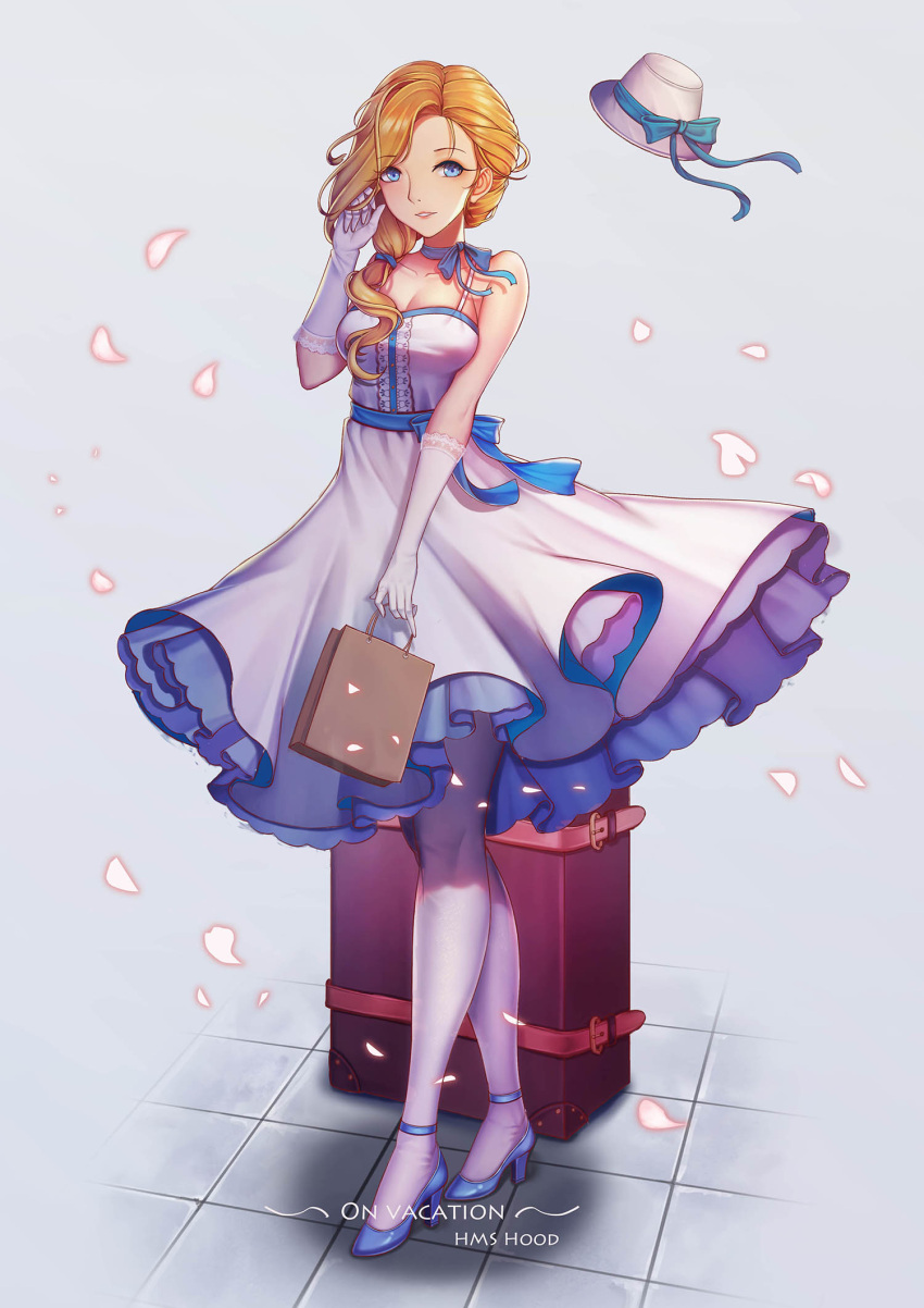 1girl adjusting_hair azur_lane bag blonde_hair blue_eyes breasts character_name cherry_blossoms cleavage commentary_request dress english gloves hair_over_shoulder handbag hat hat_removed headwear_removed high_heels highres hood_(azur_lane) j_junz large_breasts light_smile long_hair looking_at_viewer luggage neck_ribbon pantyhose petals ribbon solo suitcase white_dress white_gloves