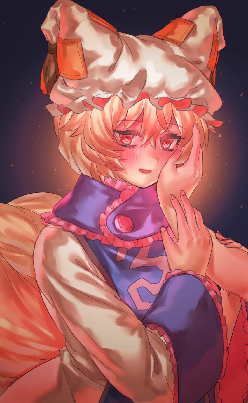 1girl bangs blonde_hair blush eyebrows_visible_through_hair fox_tail hair_between_eyes hand_on_another's_cheek hand_on_another's_face hat highres long_sleeves looking_at_viewer masanaga_(tsukasa) mob_cap multiple_tails open_mouth red_eyes short_hair solo_focus tabard tail touhou upper_body yakumo_ran
