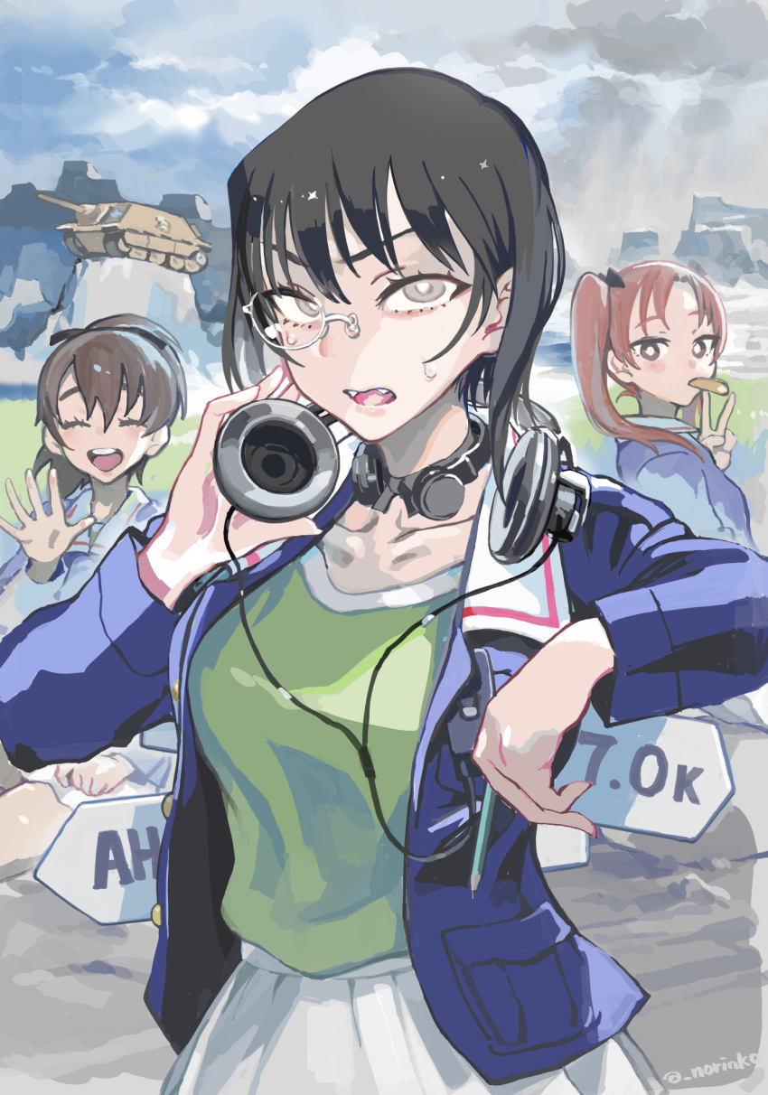 3girls :d arm_rest bangs black_bow black_choker black_eyes black_hair blue_jacket bow bow_choker bright_pupils brown_eyes brown_hair choker closed_eyes closed_mouth clouds cloudy_sky commentary day eating facing_viewer fangs food_in_mouth girls_und_panzer green_shirt ground_vehicle hair_bow hair_ribbon happy headphones headphones_around_neck highres holding jacket jagdpanzer_38(t) kadotani_anzu kawashima_momo koyama_yuzu light_frown long_hair long_sleeves looking_at_viewer looking_back military military_uniform military_vehicle miniskirt monocle motor_vehicle mountain mouth_hold multiple_girls norinco ooarai_military_uniform open_clothes open_jacket open_mouth outdoors overcast parted_bangs pencil pleated_skirt ribbon semi-rimless_eyewear shirt short_hair short_ponytail signpost silver-framed_eyewear sitting skirt sky smile standing sweatdrop tank throat_microphone twintails twitter_username under-rim_eyewear unhappy uniform v waving white_skirt