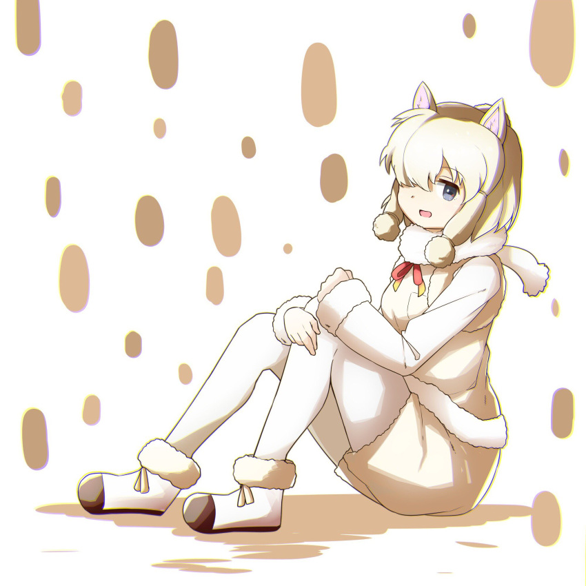 1girl alpaca_ears alpaca_suri_(kemono_friends) animal_ears blonde_hair breast_pocket eyebrows_visible_through_hair fur-trimmed_vest fur_collar grey_eyes hair_over_one_eye hair_tie highres kemono_friends long_sleeves looking_at_viewer pantyhose pocket shorts sitting solo tamiku_(shisyamo609) white_background white_footwear white_legwear